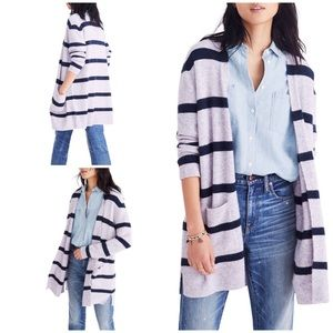 Madewell Lilac Blue Kent Stripe Open Knit Cardigan
